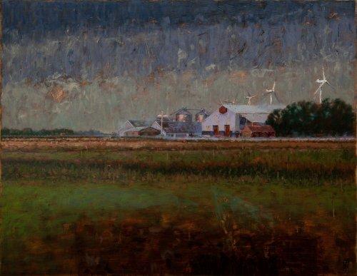 Boerenbedrijf bij avond