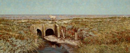 Een schaap over de dam