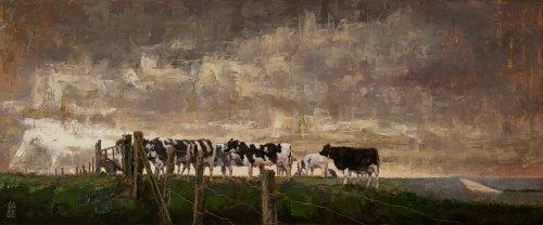 Fryslân, koeiën op het Noorderleeg, eind september
