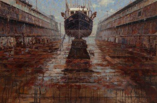 Scheepswerf, schip in droogdok