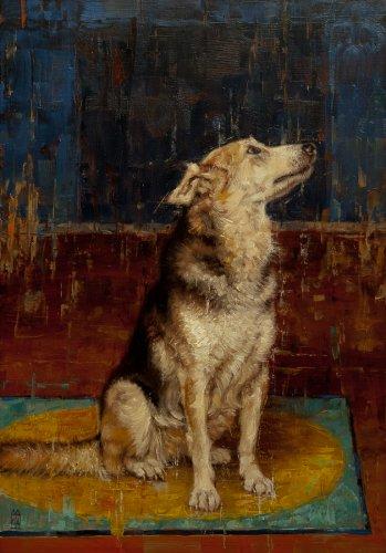 Zittende hond (en profil)